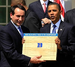Obama Hosts The NCAA Men's Basketball Champions Duke At White House